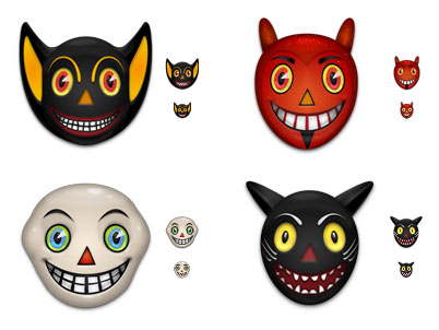Vintage Halloween Masks Free Icons