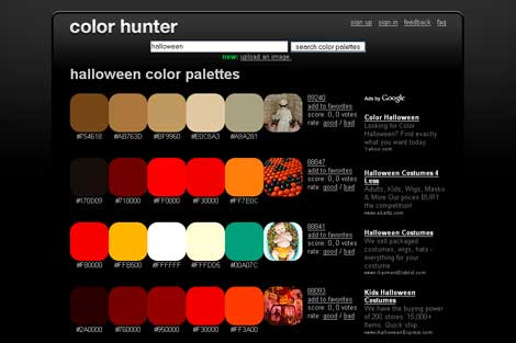 Halloween Color Palettes from Color Hunter