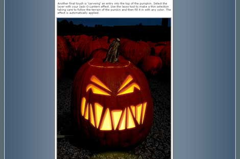 Carving a virtual Jack O'Lantern using Photoshop