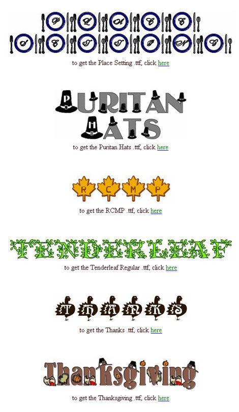 Thanksgiving Fonts and Dingbats