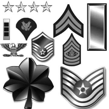 Army and Air Force Rankings Photoshop Brushes
