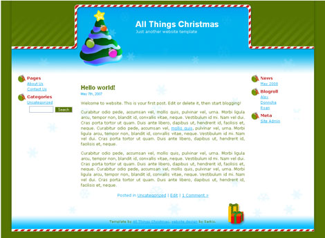 All Things Christmas website template