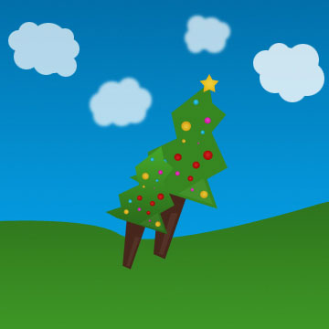 Cartoon Christmas Tree PSD