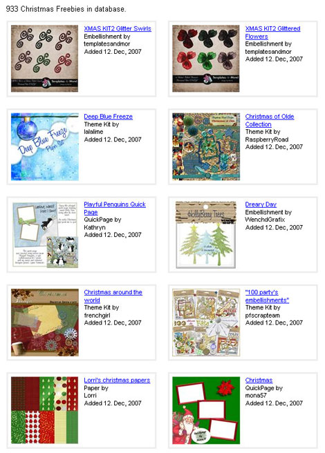 Christmas Freebies for Digital Scrapbooking