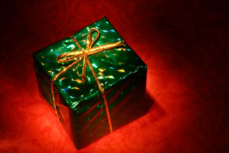 Green Present Christmas Stock Photo