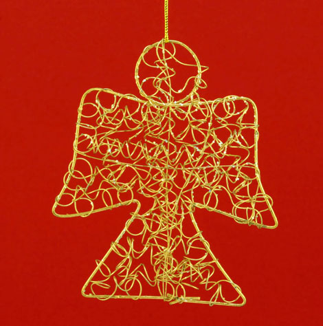 Gold Angel on Red Background