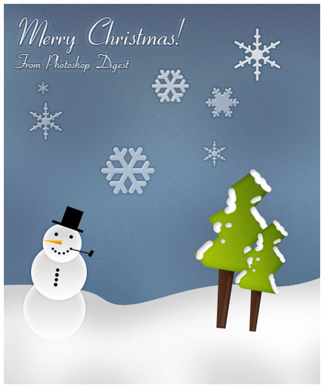 Holiday Card with Snowman PSD