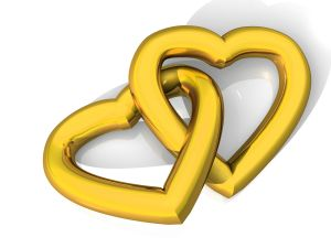Golden linked hearts