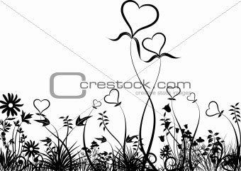 Hearts, Flowers, and Grass Vector