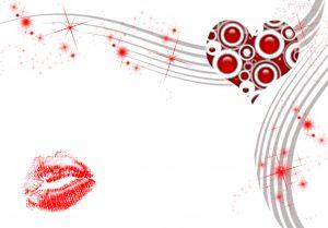 Vector style heart lips