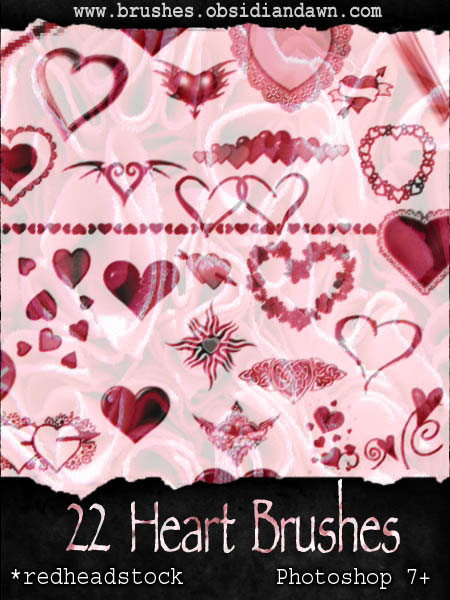 hearts shapes photoshop brushes