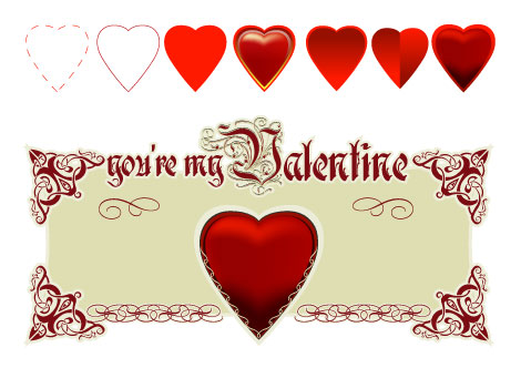 Round Pixel Valentines Vectors
