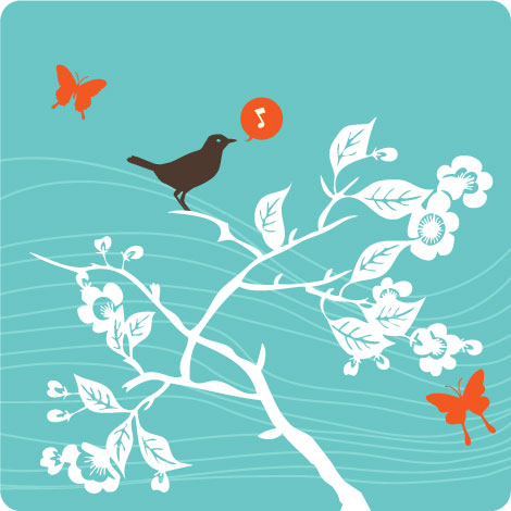 Bird Tree Butterflies Vectors