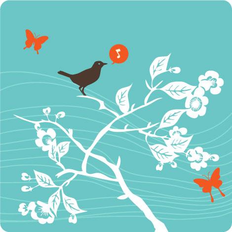 Bird Tree Butterflies Vectors