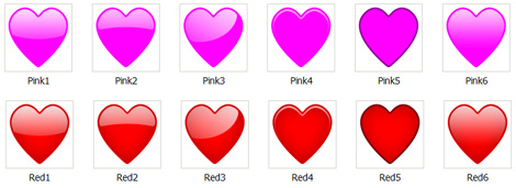 Web 2.0 hearts icons