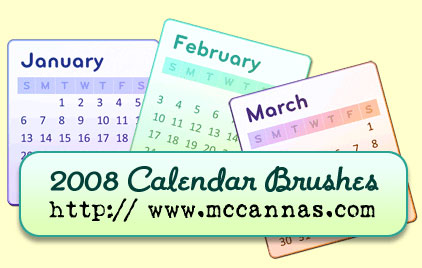2008 Calendar Photoshop Brushes