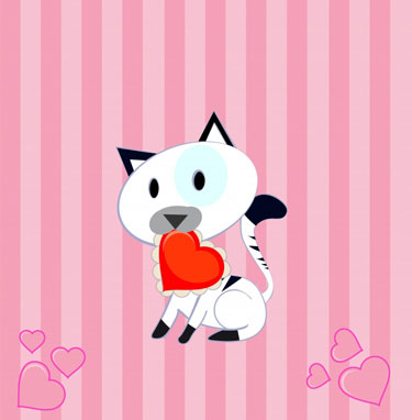 Cat Vector Valentine EPS