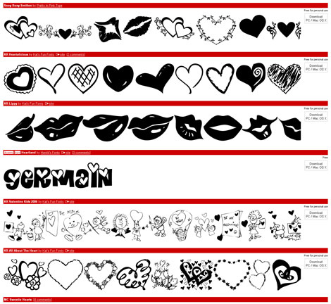 Valentine fonts from dafont