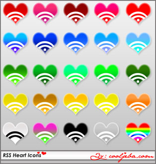 Heart rss icons