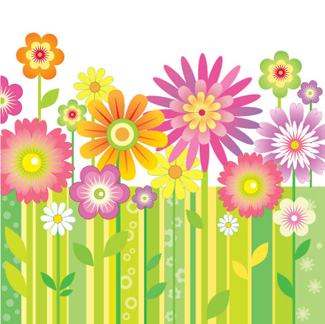 funky vector flowers eps