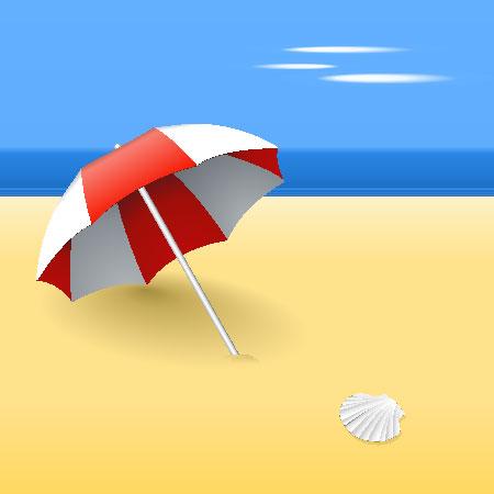 Beach Umbrella and Seashell Vectors