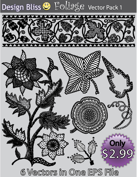 Foliage and Floral Vectors featuring flowers and leaves in an EPS file
