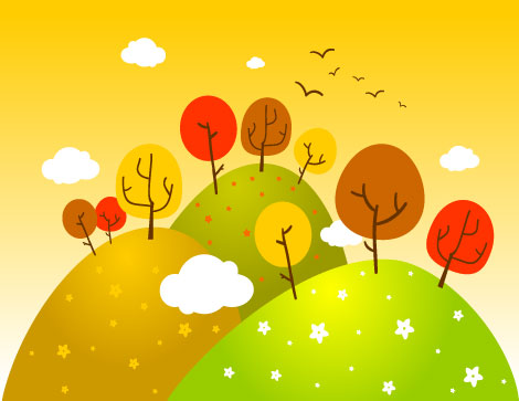 Fall Landscape Vector for Free