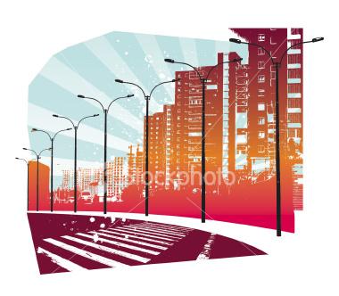 Grunge Vector Cityscape
