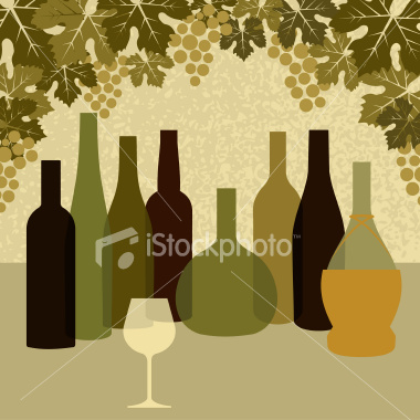 Free Vector Wine Bottles and Grapes