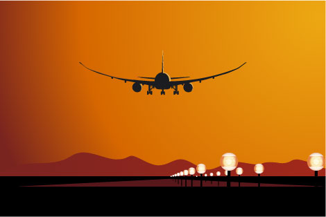 Plane Landing at Airport Vector
