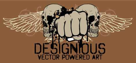 Free Skulls and Angels Wings Vector with Fist and Drips