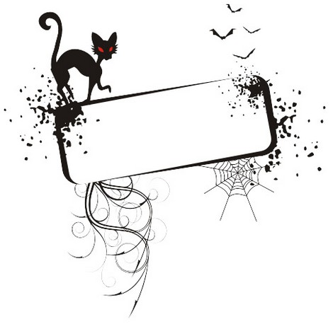 Free vector Halloween frame black cat